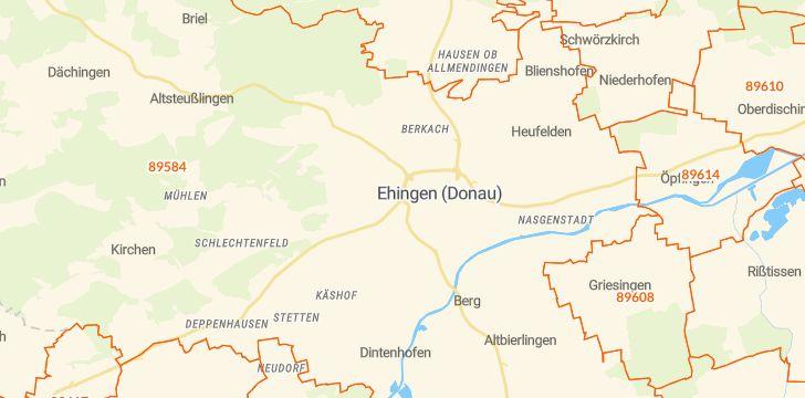 Straßenkarte mit Hausnummern Ehingen (Donau)