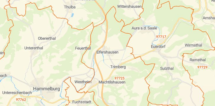 Straßenkarte mit Hausnummern Elfershausen