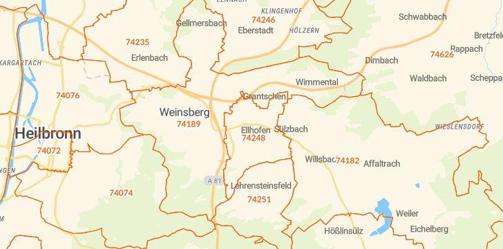 Straßenkarte mit Hausnummern Ellhofen