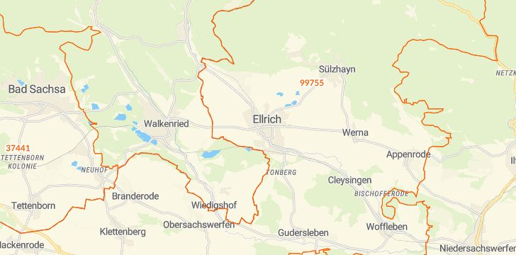 Straßenkarte mit Hausnummern Ellrich