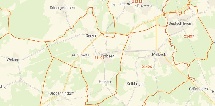 Straßenkarte mit Hausnummern Embsen