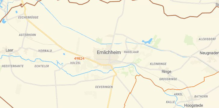 Straßenkarte mit Hausnummern Emlichheim