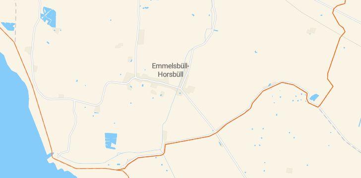 Straßenkarte mit Hausnummern Emmelsbüll-Horsbüll