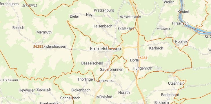 Straßenkarte mit Hausnummern Emmelshausen