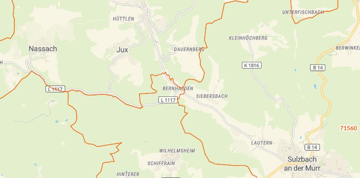 Straßenkarte mit Hausnummern Bernhalden