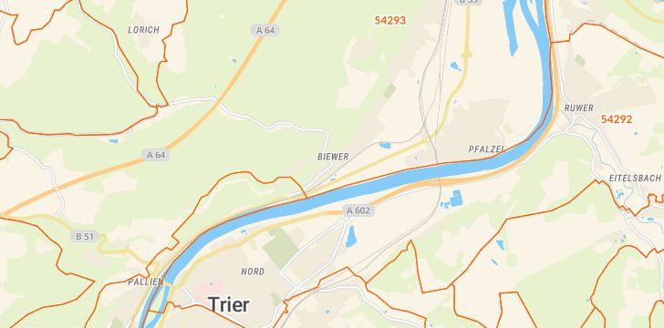 Straßenkarte mit Hausnummern Biewer