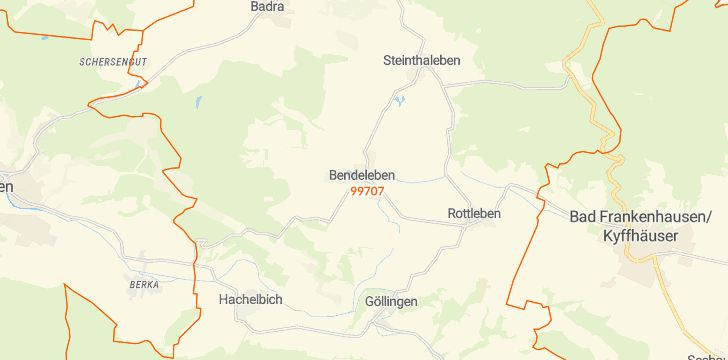 Straßenkarte mit Hausnummern Kyffhäuserland