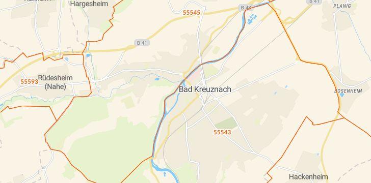 Straßenkarte mit Hausnummern Bad Kreuznach