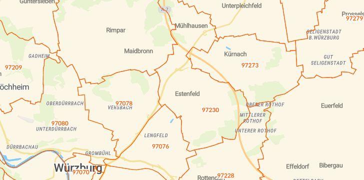 Straßenkarte mit Hausnummern Estenfeld