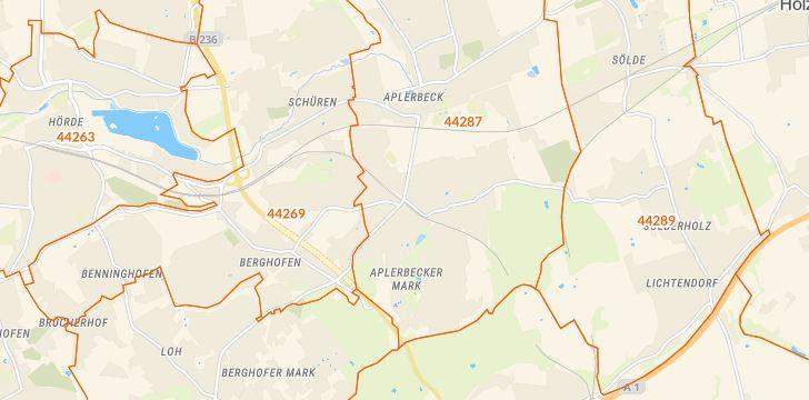 Straßenkarte mit Hausnummern Aplerbeck