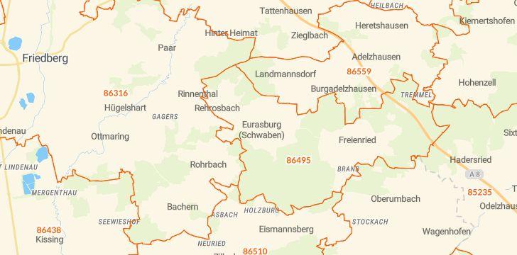 Straßenkarte mit Hausnummern Eurasburg (Schwaben)