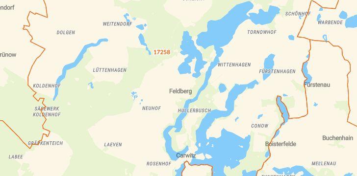 Straßenkarte mit Hausnummern Feldberger Seenlandschaft
