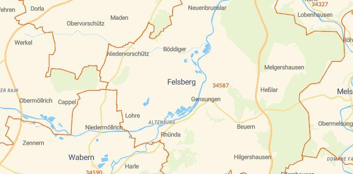 Straßenkarte mit Hausnummern Felsberg