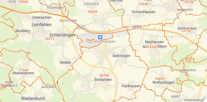 Straßenkarte mit Hausnummern Filderstadt