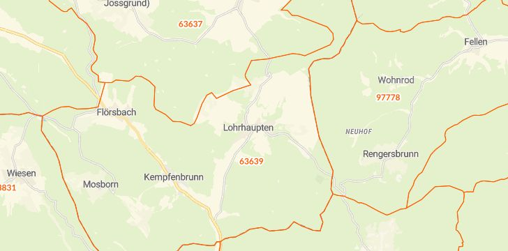 Straßenkarte mit Hausnummern Flörsbachtal