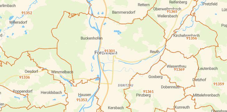 Straßenkarte mit Hausnummern Forchheim