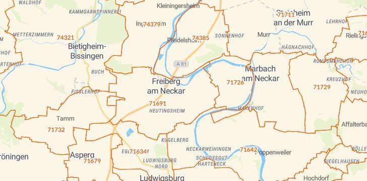 Straßenkarte mit Hausnummern Freiberg am Neckar