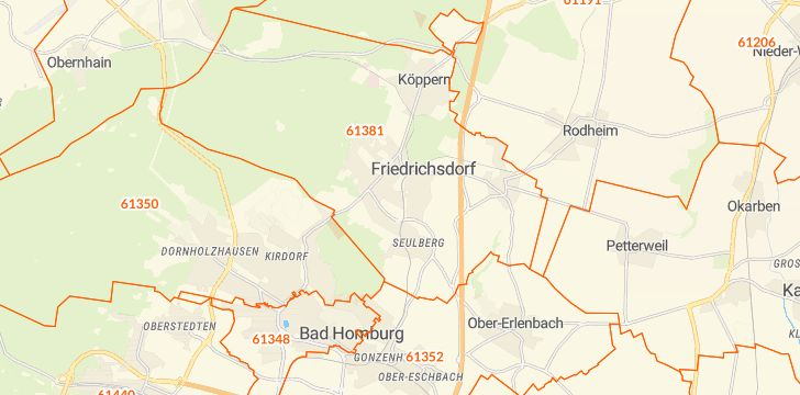 Straßenkarte mit Hausnummern Friedrichsdorf