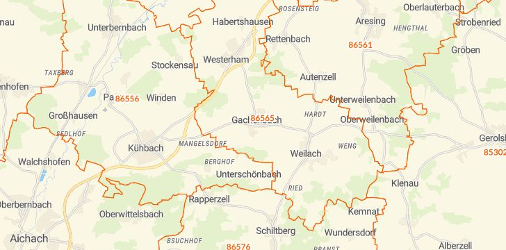Straßenkarte mit Hausnummern Gachenbach