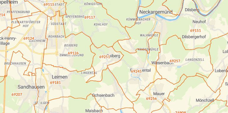 Straßenkarte mit Hausnummern Gaiberg