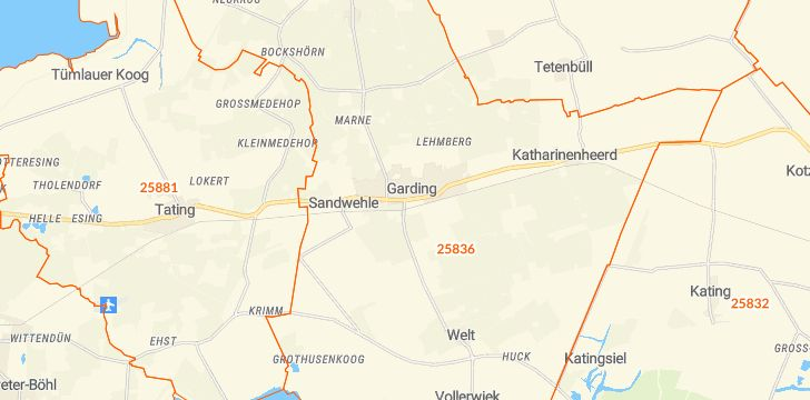 Straßenkarte mit Hausnummern Garding