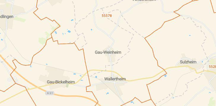 Straßenkarte mit Hausnummern Gau-Weinheim
