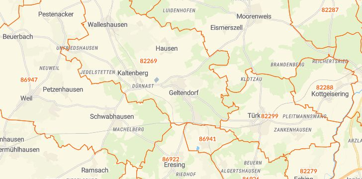 Straßenkarte mit Hausnummern Geltendorf