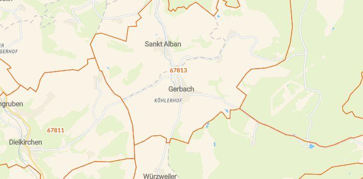 Straßenkarte mit Hausnummern Gerbach