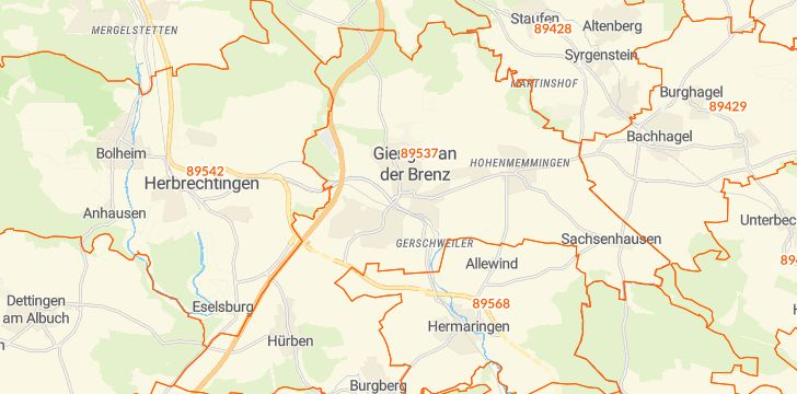 Straßenkarte mit Hausnummern Giengen an der Brenz