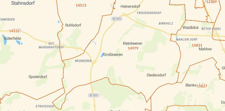 Straßenkarte mit Hausnummern Großbeeren