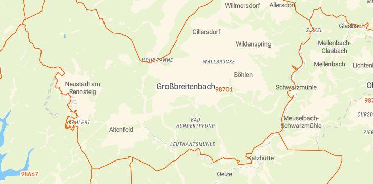 Straßenkarte mit Hausnummern Großbreitenbach