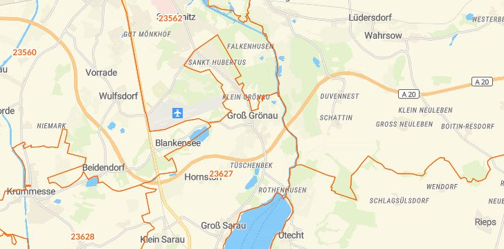 Straßenkarte mit Hausnummern Groß Grönau