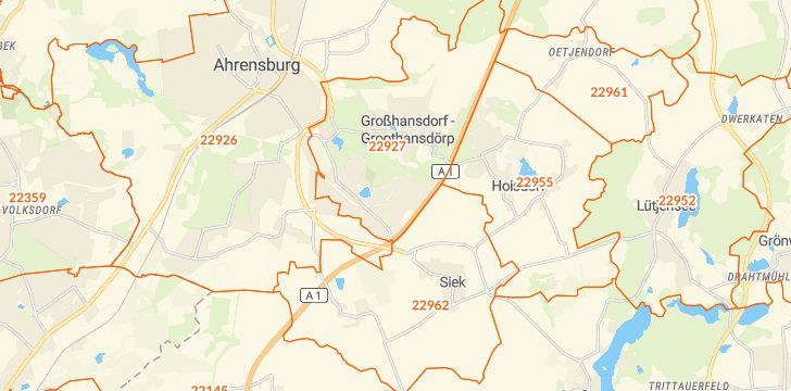 Straßenkarte mit Hausnummern Großhansdorf