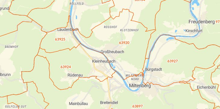 Straßenkarte mit Hausnummern Großheubach
