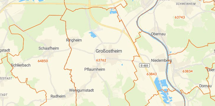 Straßenkarte mit Hausnummern Großostheim
