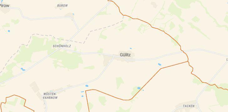 Straßenkarte mit Hausnummern Gülitz-Reetz