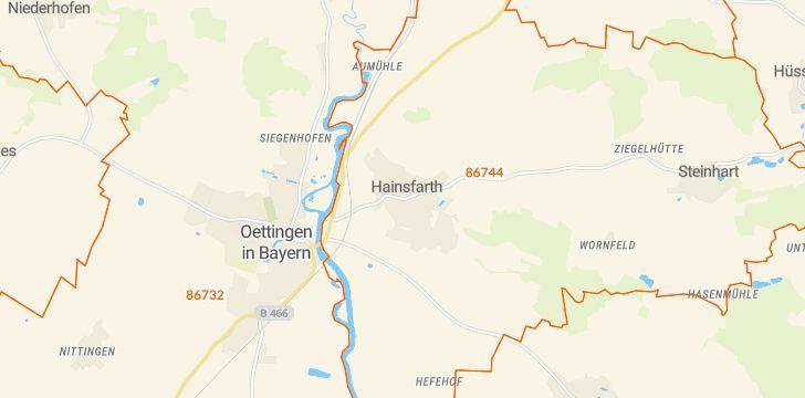 Straßenkarte mit Hausnummern Hainsfarth
