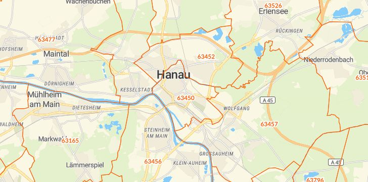 Straßenkarte mit Hausnummern Hanau