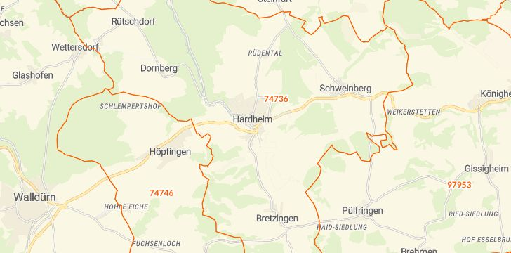 Straßenkarte mit Hausnummern Hardheim