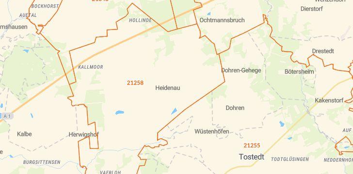 Straßenkarte mit Hausnummern Heidenau (Nordheide)