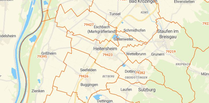 Straßenkarte mit Hausnummern Heitersheim