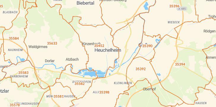 Straßenkarte mit Hausnummern Heuchelheim an der Lahn