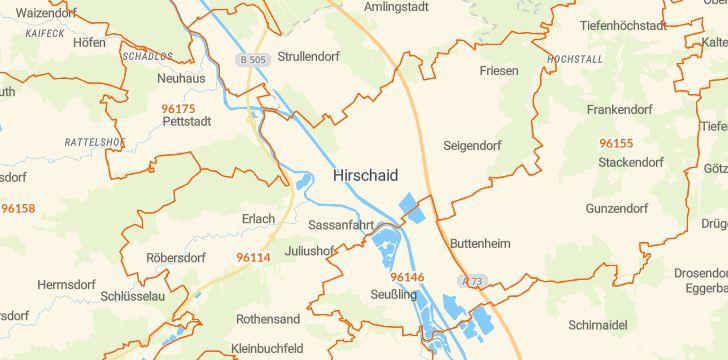 Straßenkarte mit Hausnummern Hirschaid