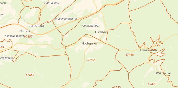 Straßenkarte mit Hausnummern Hochspeyer