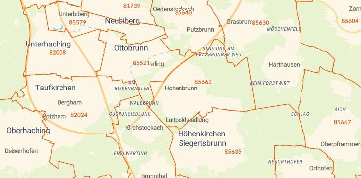 Straßenkarte mit Hausnummern Hohenbrunn