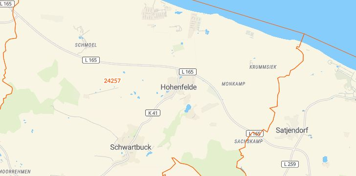 Straßenkarte mit Hausnummern Hohenfelde (Kreis Plön)