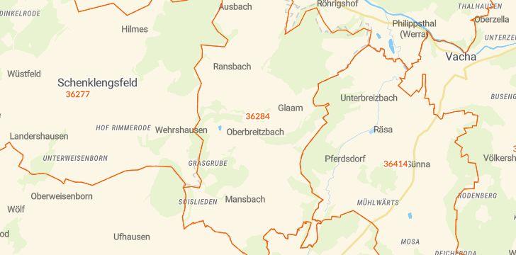 Straßenkarte mit Hausnummern Hohenroda
