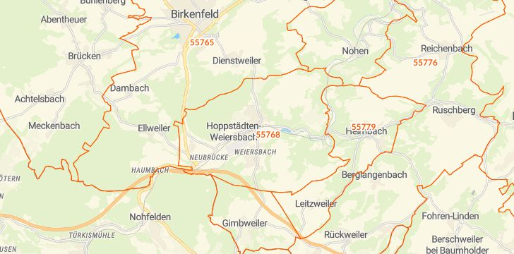 Straßenkarte mit Hausnummern Hoppstädten-Weiersbach