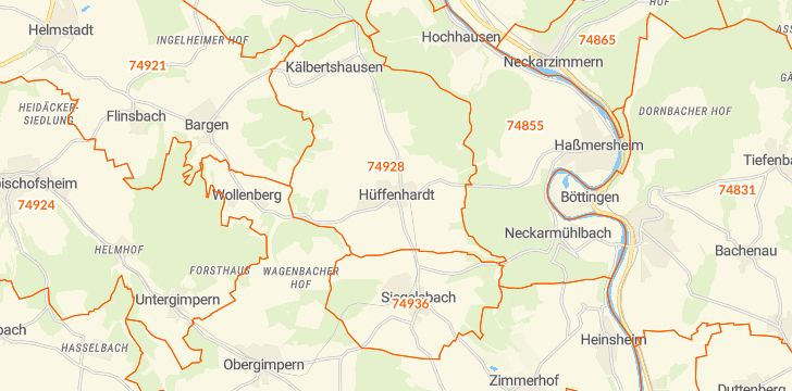 Straßenkarte mit Hausnummern Hüffenhardt