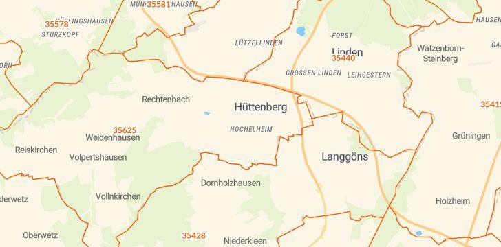 Straßenkarte mit Hausnummern Hüttenberg